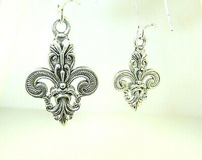 "New  Gorgeous Ornate 3-D  Fleur-de-lis  Silver-tone Dangle Earrings  1-3/4"" long"