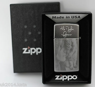 Personalised Zippo with photo and message engraved with original Box.