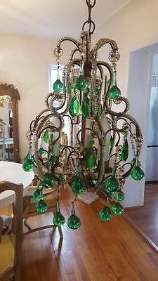 RARE Vintage Italian Beaded Chandelier ~Green Boggles, Florets, Beading Birdcage