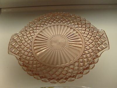 Vintage Antique Pink Depression Glass Tab Handled Platter Waterford Waffle
