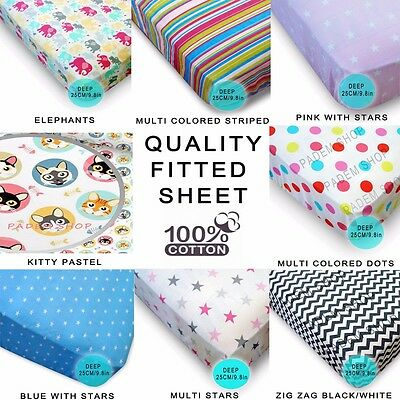 """Kids/Boys/Girls/Adults Fitted Sheet Patterned Multi Print Cotton Deep 25cm 10"""""""