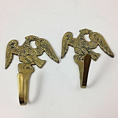 2 Vintage Cast Brass Eagle Coat Hooks
