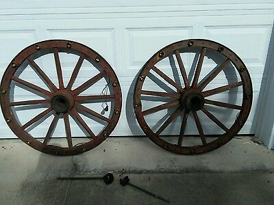 "Pair Antique 36"" Wagon Wheel Lights Great Condition"