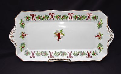 Vintage HAMMERSLEY HOLLY 2-Handled Holiday Sandwich, Tid-Bit Tray English China