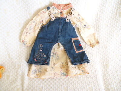 French Designer Chic 2 Piece Pinafore Dress/blouse By 'berlingot' Age 2 Years