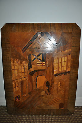 Vintage Inlaid Large Marquetry Wood Cut Veneer Plaque, Wall Hanging, Picture
