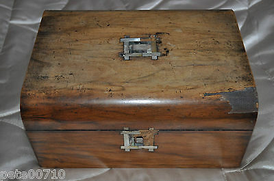 Antique Vintage Wood Hinged/sewing/ Stationary/jewellery/trinket Box