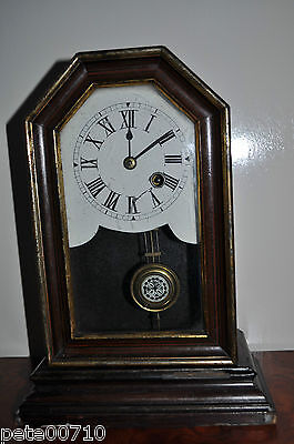 Antique UNIQUE Wood Case Mantle Clock Wind Up 1879's