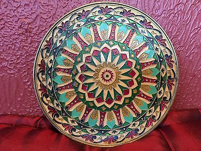 """Vintage Byzantine Hand Made Brass Enamel Cloisonne 8"""" Hanging Wall Plate"""