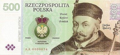 POLAND 500 ZLOTYCH  Project collector note Stefan Batory / UNC