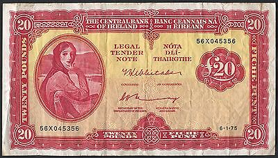 Central Bank Of Ireland - 1976 Lady Lavery £20 Pound Banknote - 56X Prefix, Vf+