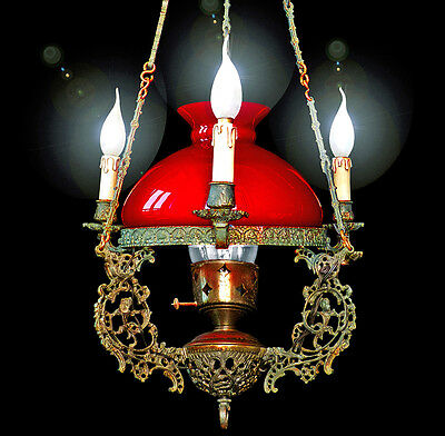 Antique French Ruby Red Victorian Lamp Opaline Glass Shade 4 Light Chandelier