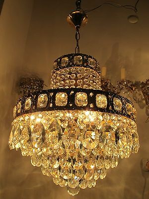 Antique Vnt French HUGE Basket Style Crystal Chandelier Lamp 1940s 16in dmter***