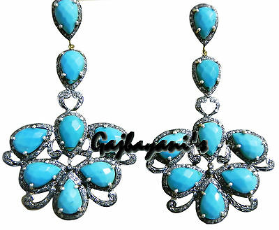 Gorgeous Antique Look Rose Cut Diamond & Turquoise 14K Gold/silver Long Earring