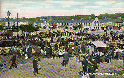 The Square Warrenpoint Co. Down Ireland Lawrence Irish Postcard Posted June 1910
