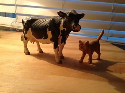 Lot Of 2 Schleich Cow And Cat