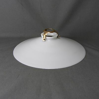 Vintage French Unruffled Opaline Milk Glass Ceiling Shade, w/Hardware, Ø 25 cm
