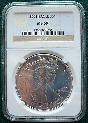 Blast White United States 1991 One Ounce Silver $1 American Eagle NGC Slab MS 69