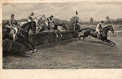 Postcard Horse Racing The Steeple Chase Vintage Advertisement Type Postcard