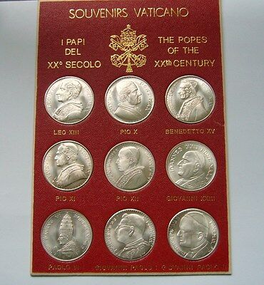 Vatican Medals, Souvenirs Vaticano-The Popes of the 20th Century,Silver Plated