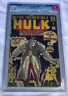 THE INCREDIBLE HULK #1 CGC GRADED 1.5 FIRST 1st APPEARANCE OF THE HULK 1962