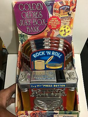 VINTAGE NOVELTY ROCK n ROLL MONEY BOX JUKE BOX  FROM THE 1970s-1990s WITH BOX