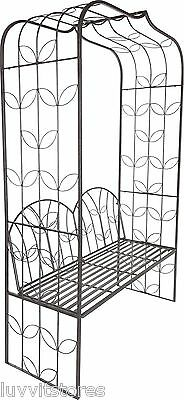 Black Metal Garden Arch with 4ft Seat.