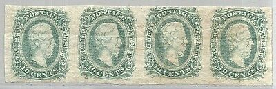CONFEDERATE STATES: SCOTT 11c MNG STRIP of 4 - 1863 10c GREEN BLUE CAT - $68