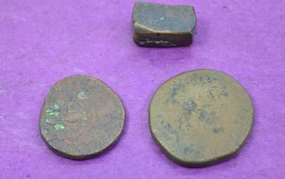 2 Roman coins + coin blank ? in as found condition from house clearance