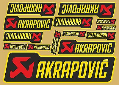 Akrapovic decals set 14 quality printed stickers plus FREE LARGE Sticker Decal