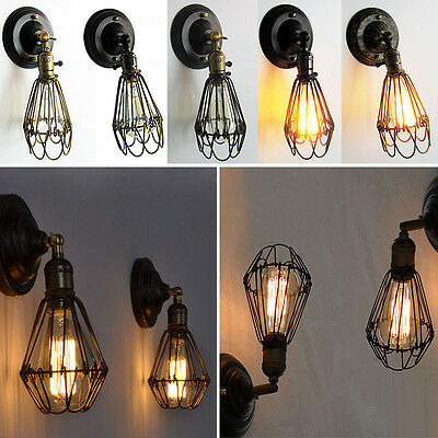 Vintage Industrial Light Fixture Rustic Wire Cage Hanging Bar Sconce Wall Lamp