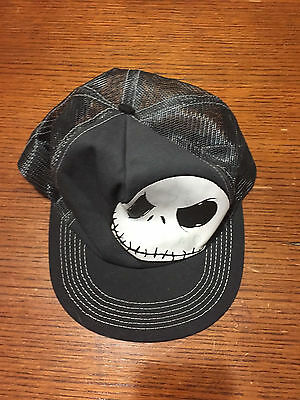 """Jack Skellington Mesh Black Cap -- """"The Game"""" Written on his Face in Green"""