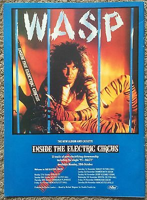 WASP - INSIDE THE ELECTRIC CIRCUS 1986 full page press ad W.A.S.P.