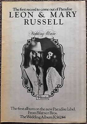 LEON & MARY RUSSELL 1976 full page press ad