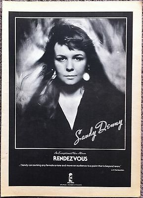 SANDY DENNY - RENDEZVOUS 1977 full page press ad