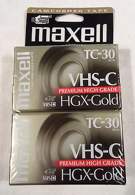 Maxell HGX-GOLD TC-30 Camcorder VHS-C Blank Video Cassettes 2 Pack NEW Sealed