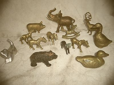 vintage brass animal menagerie figurines 11 piece lot