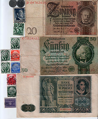 Nazi Germany Banknote, Coin And Stamp Set  # 31