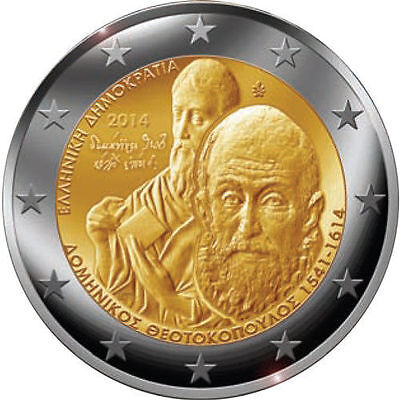 Greece 2 euro Commemorative coin 2014 D.Theotocopoulos El Greco UNC from roll