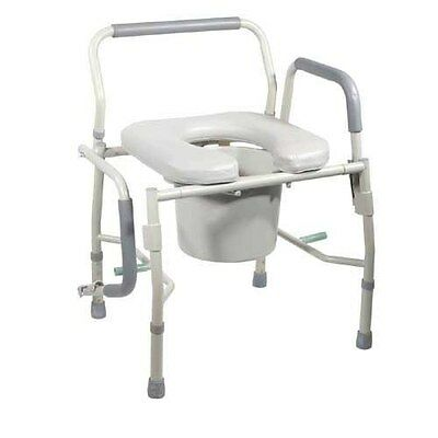 Drive Medical Commode Drop-Arm KD w/Padded Open-Front Seat  Tool-Free Part No.11