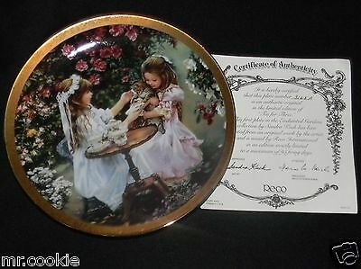 1st Tea for Three Plate by Sandra Kuck Enchanted Gardens Collection COA 3165