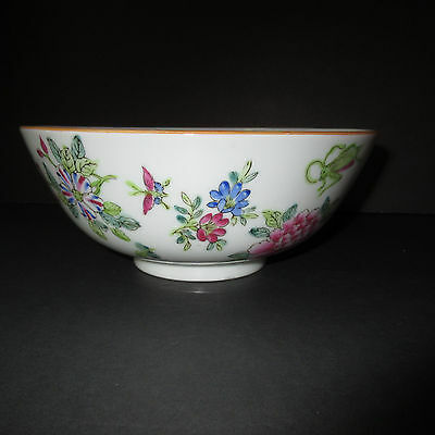Vintage Famille Rose Chinese Japanese Porcelain Bowl Cricket Dragonfly Lotus