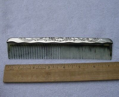 Gorham Sterling VICTORIAN-CHASED #23 Floral COMB-Green Plastic Teeth-Nice!-NR