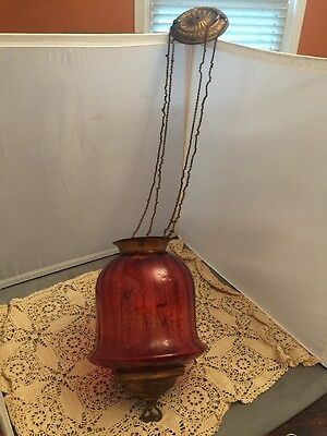 Antique Cranberry Ruby Glass Shade Hanging Hall Oil Lamp Chandelier Light 1850s