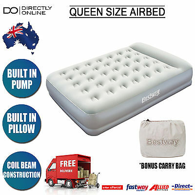 Queen Size Air Bed Camping Inflatable Mattress Spare Bed Built in Pump Bestways