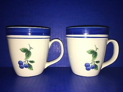 L.L. Bean Blueberry Coffee Mugs Set Of 2