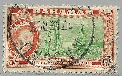 BAHAMAS  SCOTT 171USED VF - 1954 5sh DP ORG & EMERALD ISSUE - CATALOG $20