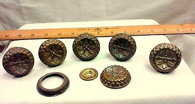 Set of 5 Antique Spool Cabinet Drawer Pulls Brass Knobs w Wood Collars C1880