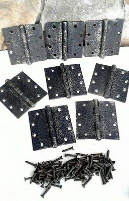 Set of 8 Acorn Warwick Style Butt Hinges Faux Hand Forge Iron Finish Org Screws