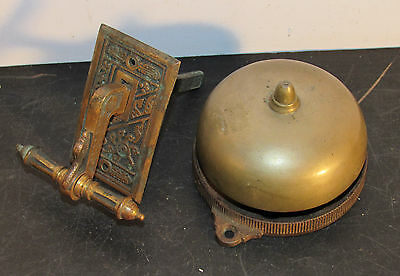 Antique Victorian era pull mechanical doorbell door bell working 1872 patent